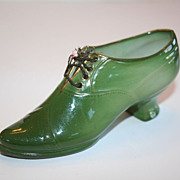 SALE Stunning Green Porcelain Baby Louie Shoe