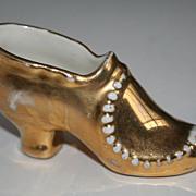 SALE Shoe lover's delight - Gold Porcelain Antique Shoe