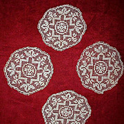 Set of Four Antique Ivory Filet Lace Cocktail Coasters