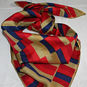 Vintage Vera Lucky Little Ladybug Red Blue and Camel Silk Scarf