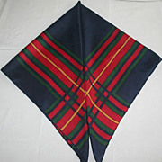 SALE Vintage Red, Blue and Green Plaid 1960's Silk Scarf