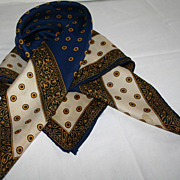 SALE Vintage 1960's Navy and Gold Paisley Designer Silk Scarf