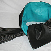 SALE Vintage 80's Jill Stuart Black and Turquoise Leather Sash Belt
