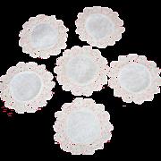 19th Century Ecru Fine Linen and Crochet Coasters/Set 6