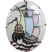 SALE Victorian 19th C. Pastel Hand-Painted Porcelain Sailing Vessel Brooch Pin