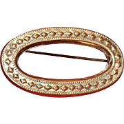 19th Century Gold-Filled Oval Design Pin