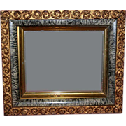 19th Century Gold & Faux Marble Shadowbox Mirror
