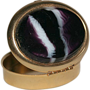 Vintage Brass Marble Oval Box