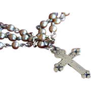 Vintage Occupied Japan Pearl Rosary Cross