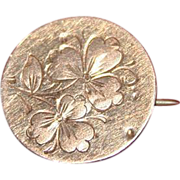 19th Century Round Gold Etched Floral Lapel Pin