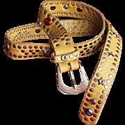 Vintage Yellow 1980's Urban Cowboy Studded Belt