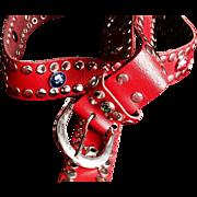 1980's Red Vintage Studded Urban Cowboy Belt