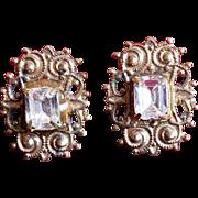 Vintage Crystal Filagree Post Earrings