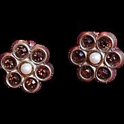 Vintage Topaz and Pearl Flower Post-Back Earrings