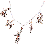 Vintage Circus Charm Necklace on Pearl Chain