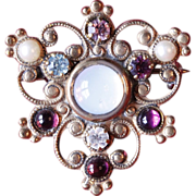 Vintage Filagree Jewel Encrusted Crest Brooch Pin