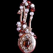 Fabulous Vintage Oversize Locket with Semi-Precious Stones