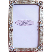 SOLD Antique Hammered Brass and French Paste Picture Frame