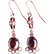Fabulous Vintage Light Topaz and Seed Pearl Drop earrings