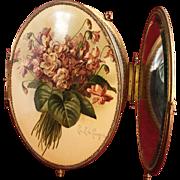 SOLD Victorian Paul de Longpre' Signed Violets Celluloid Trifold Dresser Mirror