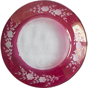 Antique Cranberry Glass and Crystal Etched Glass Plate