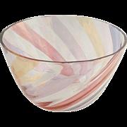 Vintage Crystal Rainbow Striped Serving Bowl