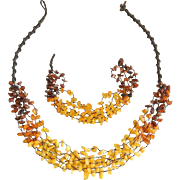 Vintage Baltic Amber Necklace and Bracelet