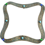 19th Century Victorian Brass Repousse Buckle with Colorful Glass Stones