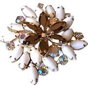 SALE Topaz and Milk Glass Rhinestones  Brooch Pin