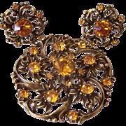 SALE Rare Coro 1950's Golden Topaz Rhinestones Pin And Earrings Set Book Piece