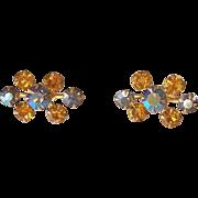 SALE Topaz and Blue Aurora Borealis Rhinestone Screw Back Earrings