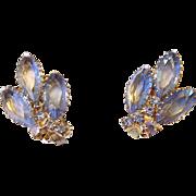 SALE Blue Marquis Rhinestone Clip Earrings