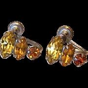 SALE Citrine And Topaz Colors Rhinestone Screw Back Earrings