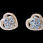 SALE Blue Rhinestone Heart Screw Back Earrings