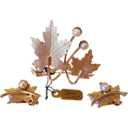 """""""Precious"""" 1960's Sarah Coventry Leaf and Pearls Brooch Pin and Earrings Set"""