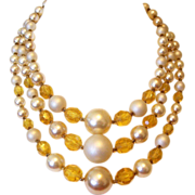 SALE Japan Three Strands Amber Lucite and Faux Pearl Beads