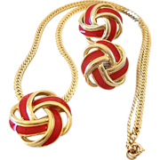 SALE Trifari Red Enamel Knot Motif Necklace And Clip Earrings Set