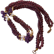 SALE Amethyst Chips Garnet Glass Beads Freshwater Rice Pearls Torsade Necklace