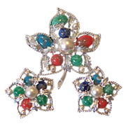 "SALE Sarah Coventry ""Fantasy"" 1967 Brooch and Earrings"