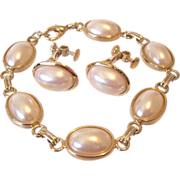 Napier Faux Pearl Cabochon Clip Earrings With Bracelet