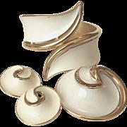 Crown Trifari White Enamel Comet Motif Bracelet  Brooch and Clip Earrings