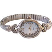 Art Deco Styled Quartz Watch With Rhinestones