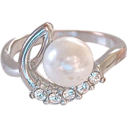 SALE Simulated Pearl Diamonds Ring Size 8.75