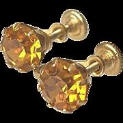 SALE Topaz Glass Screw On Earrings