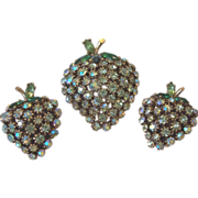 Signed ART Pear Fruit Motif Brooch Pin and Clip Earrings