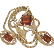 "Sarah Coventry ""Molten Topaz"" 1960's Necklace and Clip Earrings Set"