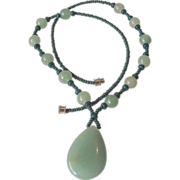 SALE Green Jadeite Pendant and Beads Necklace