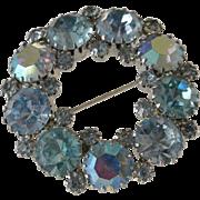 Sparkling Large Blue Rhinestones Pin