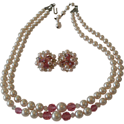 Hint of Pink Faux Pearls Necklace and Clip Earrings Set