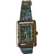SALE PENDING Abalone Shell Inlay Jacques Couture Quartz Bracelet Watch